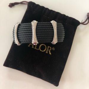 ALOR 10-row Cable Cuff Bracelet W/ Pave Diamond